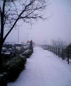 朝から吹雪。くにびき大橋